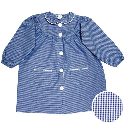 Tablier école fille - col Claudine – Mini vichy bleu