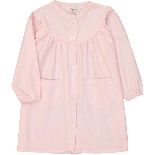 Tablier fille pour l'école, coloris rose. Modèle Violette, col rond. La broderie sera réalisée en framboise.