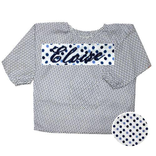 Blouse - Pois bleu - 4A - Brodé Eloïse