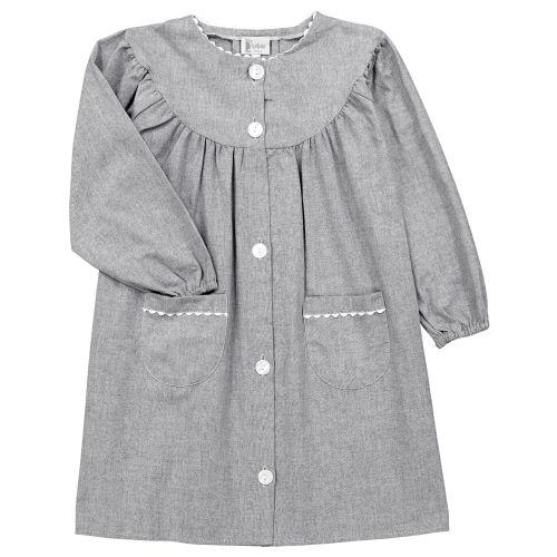 Tablier fille pour l'école, coloris gris. Modèle Violette, col rond. La broderie sera réalisée en blanc.