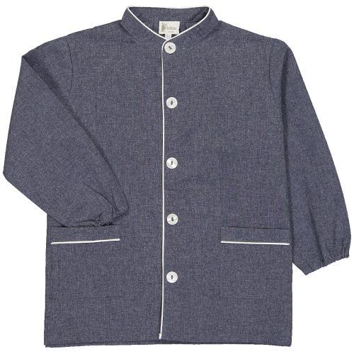 Tablier école garçon, col Mao – Bleu Jean