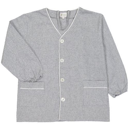 Tablier garçon pour l'école, coloris gris. Modèle Félix, col V. La broderie sera réalisée en blanc.