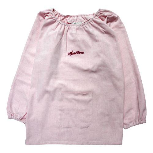 Blouse d'école pour fille taille 4 ans, coloris rose. Broderie anglaise couleur rouge au nom de Apolline