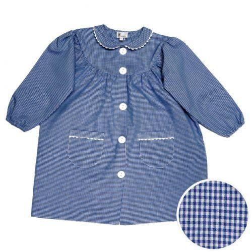 Tablier école fille - col Claudine – Vichy Bleu