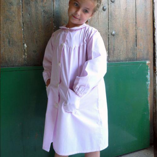Saint Baudile - Tablier école fille, col Claudine - Rose