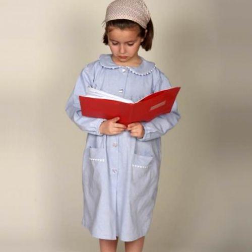 Notre Dame Les Oiseaux - Tablier école fille, col Claudine – Ciel