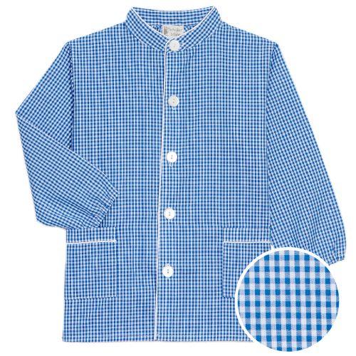 Dupanloup - Tablier maternelle garçon, col Mao – Vichy bleu