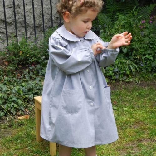 Notre Dame Les Oiseaux - Tablier école fille, col Claudine – Gris