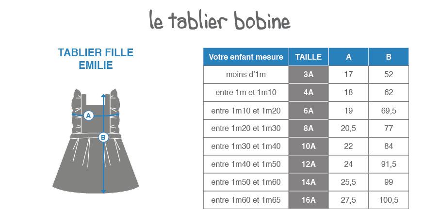Guide de tailles - Tablier d'école fille chasuble – Emilie - Tablier Bobine